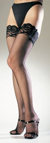 Lycra Fishnet Thigh Highs with Stay Up Lace Top