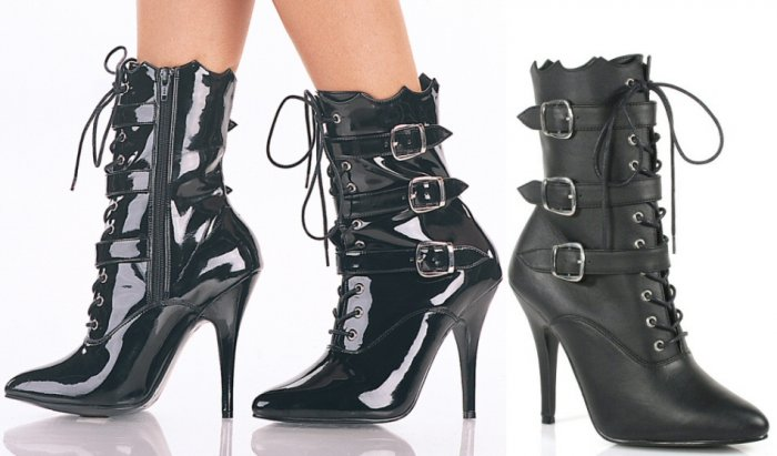 Women's Lace Up Ankle Boots with 3 Buckle Fastening