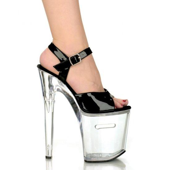 """Ankle Strap Platform Sandal - 8"""" Heel Black"""