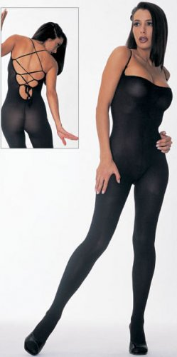 Lace Up Back Opaque Bodystocking
