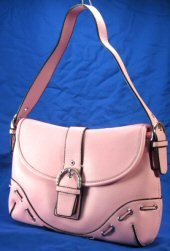 Laced Design Handbags with Buckled Strap & Rhinestone Buckle - Pink