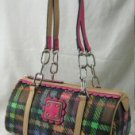 Handbags with Trendy Plaid Design & Double Chain Handle Straps