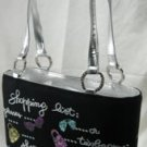 Bucket Style Cotton Microfiber Handbags with Metallic Color Trim and Glitter
