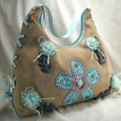 Straw Look Handbags with Side Lace Up Design & Front Sequin, Bead & Lace