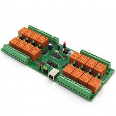 USB 16 Channel Relay Board - Virtual COM (Serial) Port - 12V