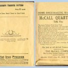 Original 1920's McCall Kaumagraph Transfer Pattern #464 Design for Pillow Case, Guest Towel +