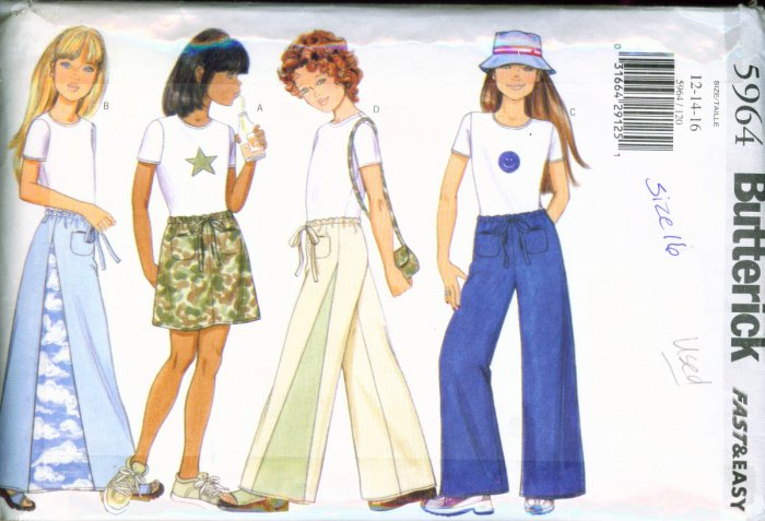 Butterick #5964 Girl's HIP Pants, Skirt & Top 12-14-16