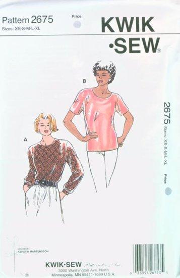 1997 KWIK SEW Pattern #2675Misses Pullover Blouses XS-S-M-L-XL