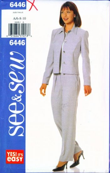1999 SEE & SEW pattern #6446 Misses Semi-fitted Jacket & Pants 6-8-10