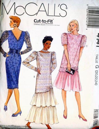 McCall's pattern #4141 Misses Dress w/ Cumberbund & Flower Size 20-22-24 UNCUT