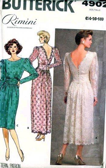 Butterick 4902 RIMINI Ruched Deep-V Back Cocktail Dress Vintage 80's Sewing Pattern B36-40 UNCUT