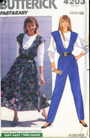 Vintage 1989 Butterick #4203 FAST & EASY Couture JUMPER/JUMPSUIT tapered leg & TOP 18-20-22 UNCUT