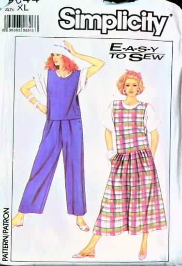 1989 Simplicity Pattern #9044 EASY Jumper/Jumpsuit XL 20-22 UNCUT