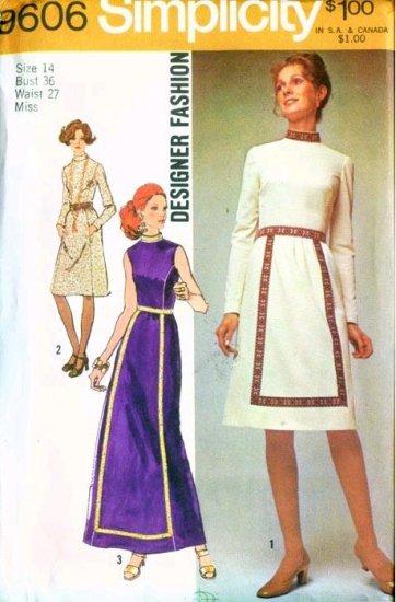 Vintage 1971 Simplicity pattern #9606 DESIGNER MAXI Dress  Pattern 14 B36 UNCUT