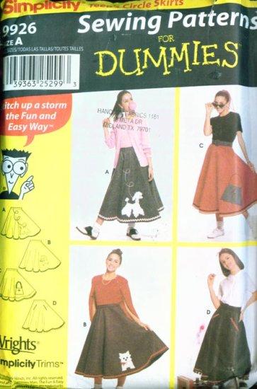 Teens' 50's Cirlce Felt Skirt & Applique sewing pattern