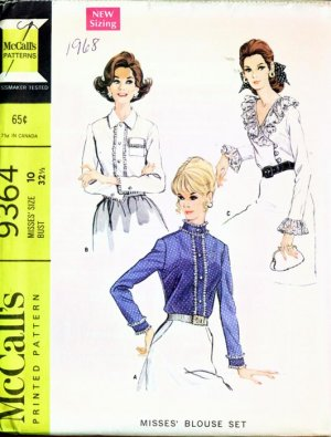 McCall's 9364 Vintage sewing pattern Sexy & Elegant Blouse Set 10/32.5 UNCUT