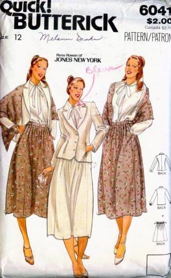 Designer Button Down Blouse Flared Skirt Blazer & Shawl Butterick 6041 Sewing Pattern S 12 B34 Uncut