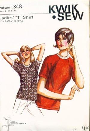 Vintage 70s Kwik Sew 348 Ladies T shirt with Raglan sleeves Size Small to Xlarge (B34-44.5) UNCUT