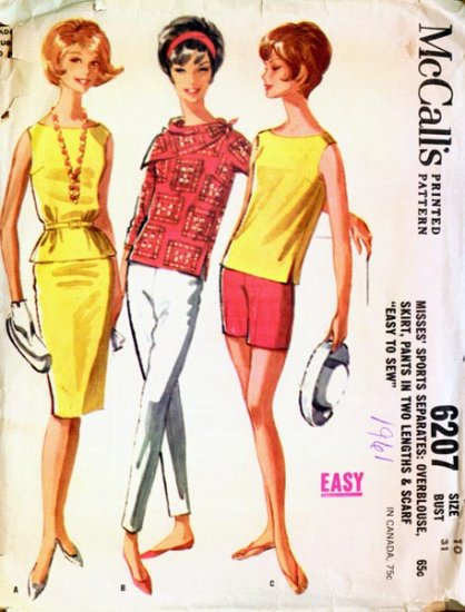 Vintage 60s McCalls 6207 Slim Skirt, Overblouse, Pants and Scarf Size 10