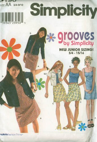 Simplicity Grooves 9196 Jr Girls DRESS, CAMISOLE TOP, MINI SKIRT, JACKET Size 3/4 to 9/10 UNCUT