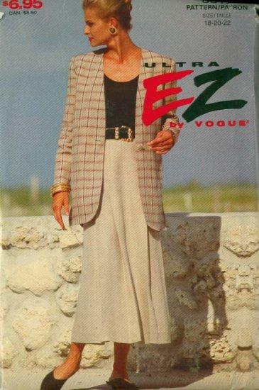 Ultra EZ VOGUE 8617 Misses Jacket & Skirt Size 18-22 UNCUT