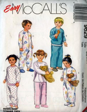 Easy McCalls 9629 Toddlers Two or One Piece Pajamas Size 2-4 UNCUT