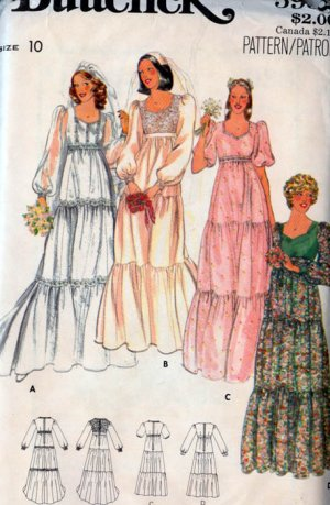 Vintage 70s Butterick 5938 EMPIRE Tiered and Riffled Bridal Gown or Prom Dress Size 10 UNCUT