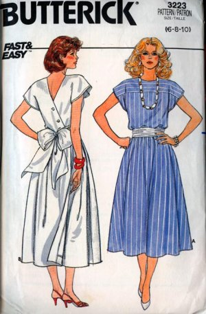 Vintage 80s Butterick 3223 Misses Back Wrap Dress Size 6-8