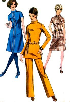 Vintage 70s Simplicity 9063 Mod Space Age Dress, Tunic Top, Sewing Pattern Size 10