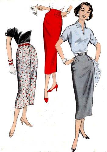 Vintage 50s Advance 8286 One Yard Slim WIGGLE Skirt Waist 24 UNCUT