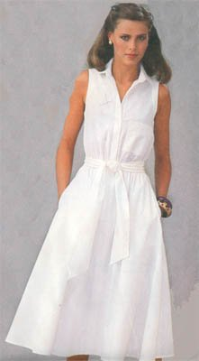 Vintage 80s Simplicity ESP Sleeveless Misses Dress and Sash Size 8-12