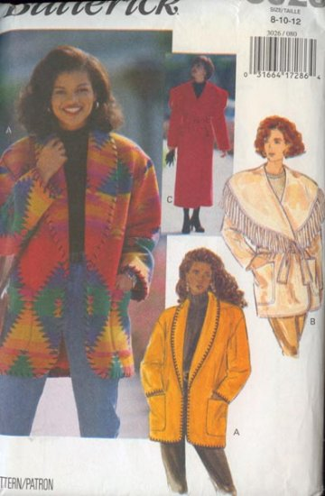 Butterick 3026 Misses BARN Coat and Jacket Size 8-12 UNCUT