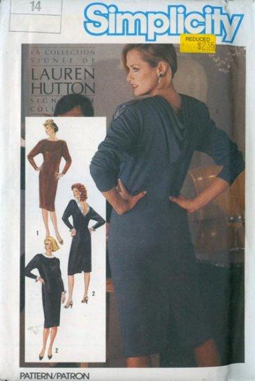 Vintage 80s Simplicity 6701 Lauren Hutton Collection SEXY Low V Back Dress Size 14 UNCUT
