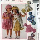 McCalls 8742 CUTEST Dress, Panties and Hat Sewing Pattern Size 1-3 UNCUT
