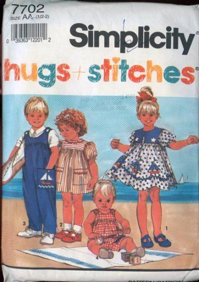 Simplicity 7702 Nautical Sailor Dress or Overalls/Sunsuit Size 1/2 -2 UNCUT