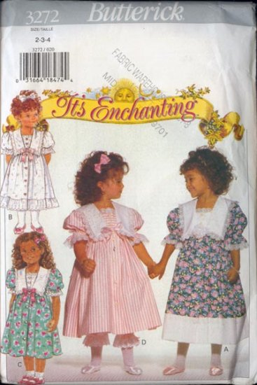 Butterick 3272 Childrens Dress and Pantalooms Sewing Pattern Size 2-4 UNCUT