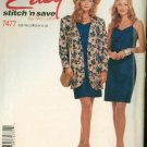 Stitch and Save 7477 EASY Misses Unlined Jacket and Dress Sewing Pattern Size 6-12 UNCUT