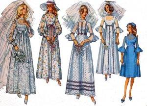Vintage 60's Simplicity 9218 EMPIRE BRIDAL Wedding Dress Size 10 Bust 32.5 UNCUT