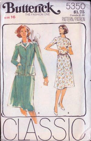Vintage 80s Butterick 5350 Misses Dress and Jacket Size 16 UNCUT