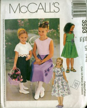 McCalls 3593 Girls Empire Special Occasion Dress Size 7-10 UCNUT