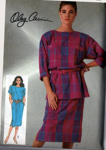 80's Oleg Cassini Dress/Tunic  Simplicity #7368 Pattern Size 20 UNCUT