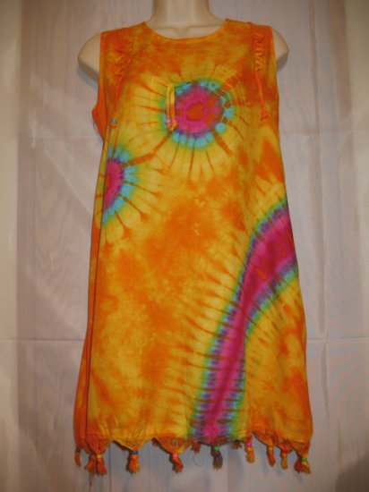 Yellow-Orange Batik Hand Dye-Rayon Beaded Dress fits to S/M