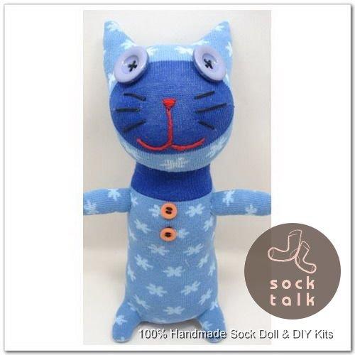 Handmade Sock Monkey Cat Kitty Stuffed Animals Doll