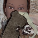 Mottled Moss Green and Faux Fur Eye Mask