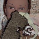 Mottled Moss Green and Faux Fur Eye Mask