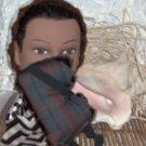 Plaid cotton and Faux Fur Eye Mask