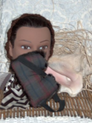 Plaid cotton and Faux Fur Eye Mask