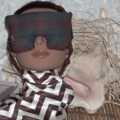 Plaid cotton Eye Mask with embellishments
