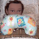 Reversible Mottled Moss Green and Froggie Neck Pillow with real lavender