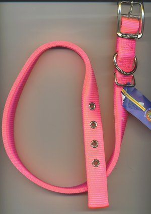 Hot pink one inch wide Hamilton dog collar with metal buckle for size 24-27 inch neck